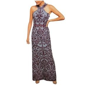 BCBGMAXAZRIA Multi Embroidered Chiffon Halter Gown